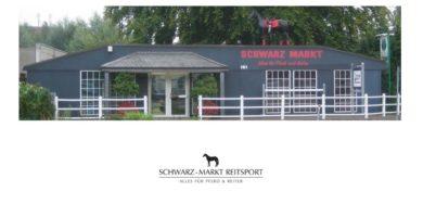 Schwarz-Markt-Reitsport mit lebensgroßem Pferd auf dem Dach