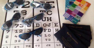 Rasterbrillen mit Beschreibung und Sehtesttafel